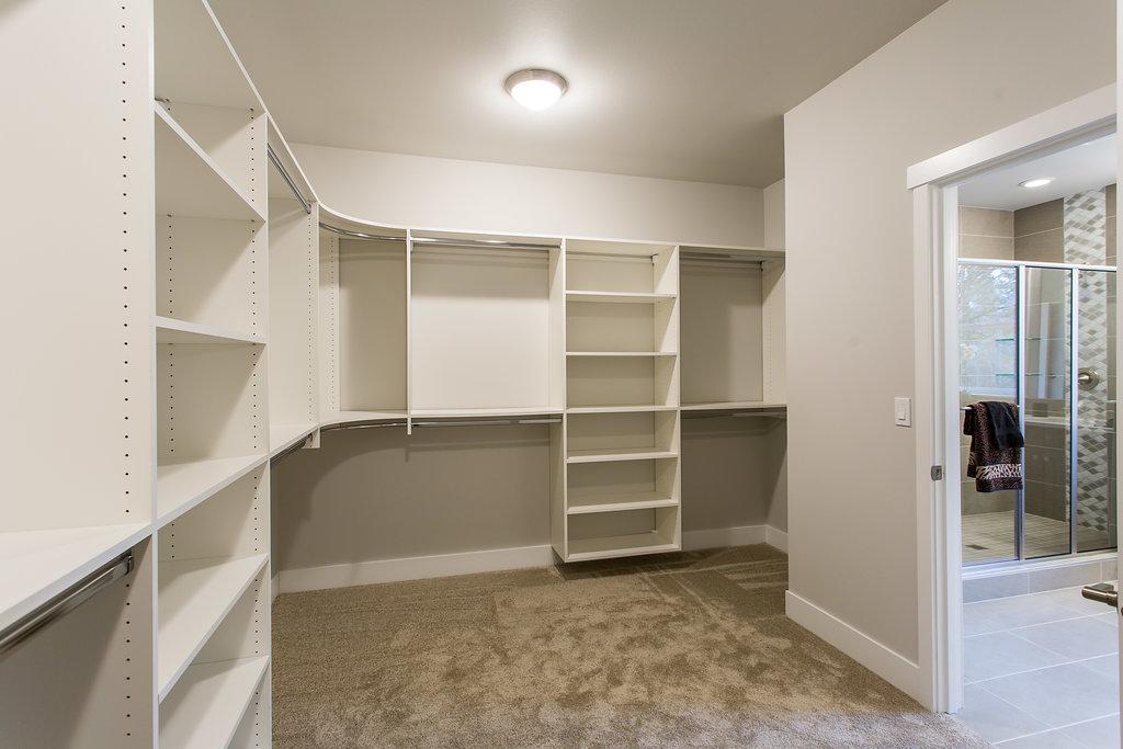 Master closet with melamine custom shelving closet organizer