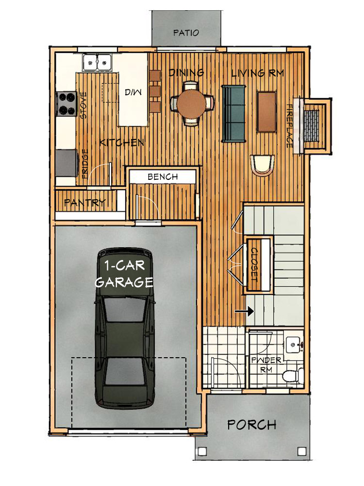 b narrow main floorplan