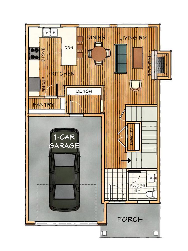 B Narrow Alt Main Floorplan